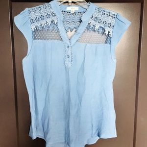 Mine Baby Blue Top with Lace Detail